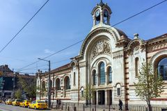 De bouw van Centrale Sofia Market Hall - Architectuur van bij het begin van de 20ste eeuw in Sofia Stock Foto