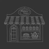 De bouw van de bakkerijwinkel vectorillustratie Stock Afbeeldingen