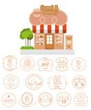 De bouw van de bakkerijwinkel voorgevel met uithangbord en bakkerij logotypes Stock Fotografie