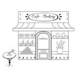 De bouw van de bakkerijwinkel voorgevel met uithangbord Hand Stock Afbeelding