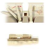De bouw van de Egyptische Tempel Stock Foto