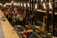 De bouw van de metro stock foto