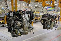 De bouw van de motor van een auto Stock Afbeeldingen