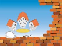 De bouw van de nieuwe huizen Stock Foto's