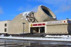 De bouw van de originele ZAAL van de ontwerpastana MUZIEK in Astana Stock Foto's