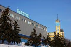 De bouw van de rivierpost in de stad van Saratov Stock Afbeelding