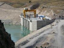 De bouw van de Sangtuda-waterkrachtinstallatie in Tadzjikistan Royalty-vrije Stock Foto's