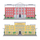 De bouw van de Universiteit en de school stock illustratie