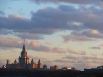 De bouw van de Universiteit van Moskou. Stock Fotografie
