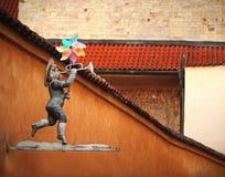 De bouw van decoratie op Europese straat in Praag, Tsjechische Republiek royalty-vrije stock foto