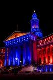 De Bouw van Denver City en van het Land in Blauw en Oranje Royalty-vrije Stock Afbeeldingen