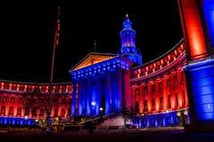 De Bouw van Denver City en van het Land in Blauw en Oranje Royalty-vrije Stock Afbeelding