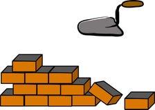 De bouw van een bakstenen muur stock illustratie