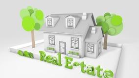 De bouw van een huis in 3D animatie royalty-vrije illustratie