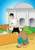 De bouw van een moskee Stock Afbeeldingen