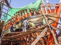 De bouw van een nieuwe boot Stock Foto's