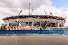 De Bouw van een voetbalstadion Stock Foto