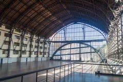 De bouw van Estacion Mapocho, vroeger die station, als cultureel centrum wordt hersteld Santiago de Chil stock foto