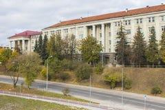 De bouw van de Faculteit van Economie van de Nationale Universiteit in Vilnius litouwen stock foto