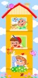 De bouw van het beeldverhaal met leuke kinderen vector illustratie