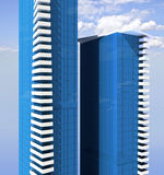 De bouw van het bureau complex van twee wolkenkrabbers Royalty-vrije Stock Afbeeldingen
