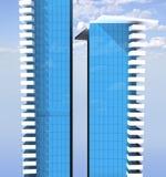 De bouw van het bureau complex van twee wolkenkrabbers Royalty-vrije Stock Afbeelding