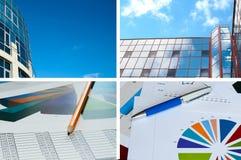 De bouw van het bureau, officiële documenten, bedrijfscollage Stock Afbeeldingen