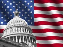 De bouw van het Capitool van de V.S. met vlag