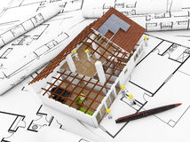 De bouw van het huis Stock Afbeeldingen