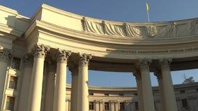 De bouw van het Ministerie van buitenlandse zaken in Kiev, de Oekraïne, 4k-lengtevideo stock videobeelden