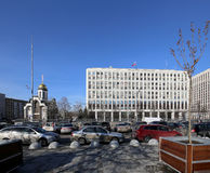 de bouw van het Ministerie van Interne Zaken van de Russische Federatie Zhitnaya St 16, Moskou, Rusland Royalty-vrije Stock Afbeeldingen