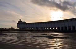 De bouw van het Museum van de grote Patriottische oorlog in het Park van de Overwinning. Royalty-vrije Stock Foto