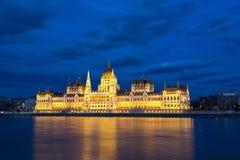 De bouw van het Parlement in Boedapest, Hongarije Stock Foto's