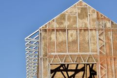 De bouw van het staalkader Stock Afbeelding