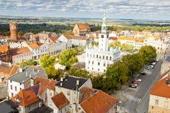 De bouw van het stadhuis - Chelmno, Polen. Stock Afbeeldingen