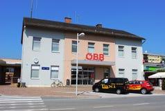 De bouw van het Wolfsbergstation, Oostenrijk stock afbeelding