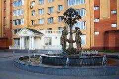 De bouw van huwelijk en fontein in de stad van Ramenskoye, Royalty-vrije Stock Foto's