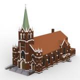 De bouw van de Katholieke kerk, meningen van verschillende kanten Driedimensionele illustratie op een witte achtergrond 3D render Stock Afbeelding