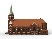 De bouw van de Katholieke kerk, meningen van verschillende kanten Driedimensionele illustratie op een witte achtergrond 3D render Royalty-vrije Stock Fotografie