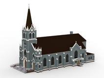 De bouw van de Katholieke kerk, meningen van verschillende kanten Driedimensionele illustratie op een witte achtergrond 3D render Stock Fotografie