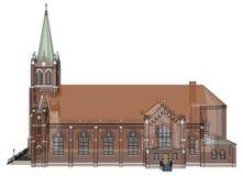 De bouw van de Katholieke kerk, meningen van verschillende kanten Driedimensionele illustratie op een witte achtergrond 3D render Royalty-vrije Stock Afbeelding