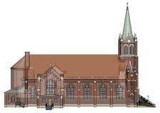 De bouw van de Katholieke kerk, meningen van verschillende kanten Driedimensionele illustratie op een witte achtergrond 3D render Royalty-vrije Stock Foto's