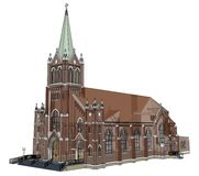 De bouw van de Katholieke kerk, meningen van verschillende kanten Driedimensionele illustratie op een witte achtergrond 3D render Royalty-vrije Stock Foto