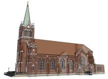 De bouw van de Katholieke kerk, meningen van verschillende kanten Driedimensionele illustratie op een witte achtergrond 3D render Stock Foto's