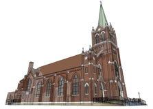 De bouw van de Katholieke kerk, meningen van verschillende kanten Driedimensionele illustratie op een witte achtergrond 3D render Stock Afbeeldingen