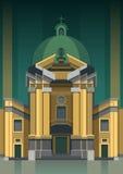De bouw van kerk vlak pictogram met lange schaduw, eps10 Stock Fotografie