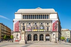 De bouw van Koninklijk Theater (Echte Teatro) in Madrid Royalty-vrije Stock Foto's