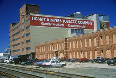 De bouw van Liggettmyers tobacco company, Greenville, NC stock foto