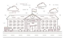 De bouw van de lijnschool royalty-vrije illustratie