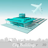 De bouw van luchthaven met vliegtuig wordt geïsoleerd dat Royalty-vrije Stock Foto's